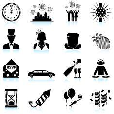 New Year party celebration black & white vector icon set vector art illustration