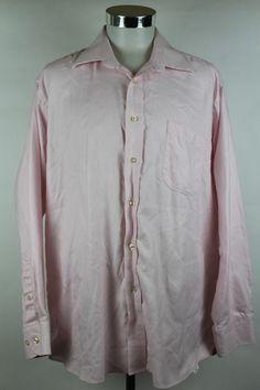 Peter Millar Dress Shirt Mens size 17.5 L Long Pink Plaid Cotton Button Front #PeterMillar