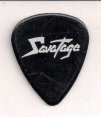 Cool Guitar Picks | savatage jon oliva pick front reverse savatage chris caffery pick