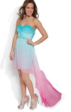 Deb Shops Strapless High Low #Prom #Dress with Twisted Bodice and #Ombre Skirt