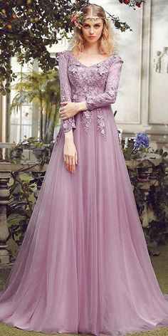 Wedding Dresses Ball Gown, Absorbing Tulle V-neck Neckline Length Sleeves A-line Prom Dress With Lace Appliques & Flowers With Beadings DressilyMe Long Prom Gowns, A Line Prom Dresses, Mermaid Prom Dresses, Ball Dresses, Nice Dresses, Ball Gowns, Dresses With Sleeves, Wedding Dresses, Popular Dresses