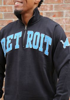 47 Detroit Lions Mens Black Striker Long Sleeve 1 4 Zip Fashion Pullover 087ffd7f0