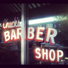 Chuck's Barber Shop, hand painted type