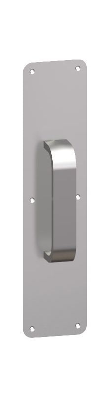 "Hager 45D-3x12 3"" x 12"" 1/2"" Radius Corner 0.050"" Gauge Pull Plate with 5/8"" Rou Satin Brass Door Plate Pull Plate"