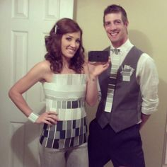 DIY couples costume. Creative and funny. 50 Shades of Gray. Tube  top, paint pallets, super glue and patience(: