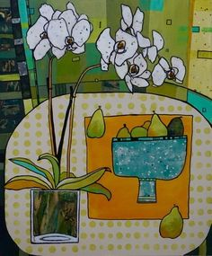 Linda Bell - Orchids and Pears Collage Design, Collage Art, Bell Art, Artwork For Home, Canadian Artists, Floral Motif, Unique Art, Flower Art, Still Life