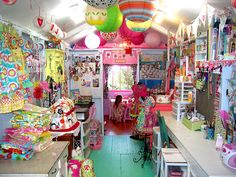 This is such a colourful creative studio and work space, perfect for crafts and arts, and lovely colouring for inspiration too!