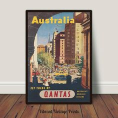 Japan Qantas  Vintage Illustrated Travel Poster Print art painting Australia