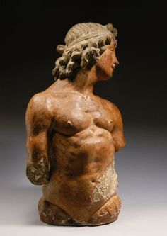 ROMAN POLYCHROME TERRACOTTA HALF-FIGURE OF A YOUNG TRITON, 1st 1/2 OF THE 2nd CENTURY, CE, IMAGE 2
