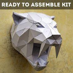 Ready To Assemble kit For SaberTooth Sculpture. | Free Shipping | Papercraft Mask | Papercraft Tiger | Papercraft Animal | Puma | Tiger