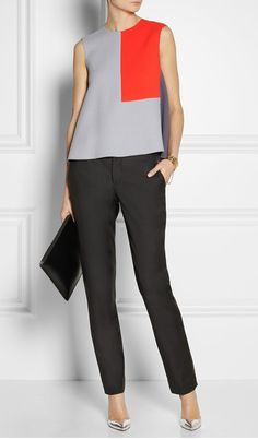 Black wool-twill Belt loops, two front slant pockets, two back welt pockets, pressed creases Concealed button and hook fastenings at front wool Dry clean Office Outfits, Chic Outfits, Fashion Outfits, Womens Fashion, Fashion Trends, Workwear Fashion, Fashion Blogs, Work Casual, Casual Chic