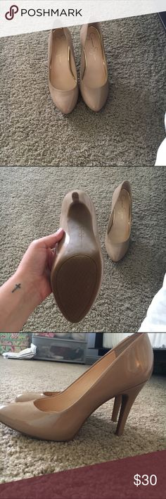 Jessica Simpson Nude Heels 👠🚨🚨🚨 Jessica Simpson Nude Heels! Great with a pair of dark jeans and a blazer or they dress up ANY outfit. Will ship next day and willing to negotiate within reason!! Love them, but I just don't wear them enough. They are in EXCELLENT condition Jessica Simpson Shoes Heels