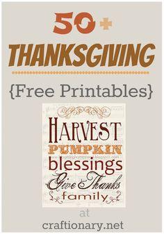 50 Thanksgiving Ideas (Free Printables) - Craftionary