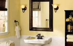 Like the paint color with the dark mirror, shelf and accessories. Great combo