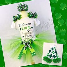 St. Patrick's Day Who Needs Luck When You're This Cute Tutu Outfit