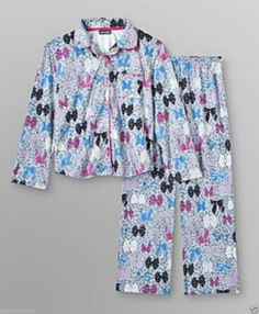 Joe Boxer Girl Cozy Flannel PJ Set Gray Leopard Print Colorful Bows -Sz XS(4/5) - (info saved) - $12.49 - Re-list April 27, 2014 - #FreeShipping