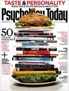 "Psychology Today magazine cover photo."" Book sandwich"" All In Here."