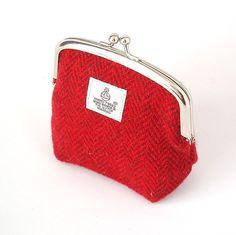 Harris tweed purse bright red herringbone fabric makeup bag