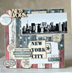 Travel Journal New York Scrapbook Layouts Mini Albums Scrapbook, Scrapbook Page Layouts, Travel Scrapbook, Scrapbook Paper, Scrapbooking New York, Scrapbooking Pinterest, Deco New York, Nyc, Photo New York