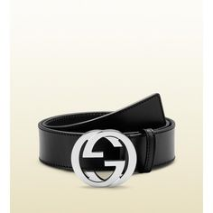 Black Gucci Belt With Interlocking silver G Buckle ($345) ❤ liked on Polyvore