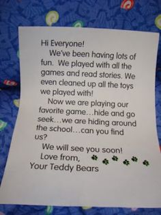 teddy bear sleepover note home - Mrs. J in the Library's note: What a great passive library program idea. Find all the teddy bears hidden! Preschool Curriculum, Preschool Activities, Picnic Activities, Summer Activities, Homeschooling, Teddy Bear Day, Teddy Bears, Daycare Themes, School Themes