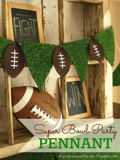 My Cup Runneth Over: SUPER BOWL PARTY DECOR and FREE FOOTBALL SUBWAY ART Football Party Decorations, Football Crafts, Free Football, Football Themes, Football Decor, Football Centerpieces, Homecoming Decorations, Banquet Centerpieces, Banquet Decorations