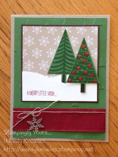 card christmas treeLove the snowy landscape idea! Don't forget to add a little charm (our Snowflake charm) to your Festival of Trees card. SU festival of trees Stampin Up Homemade Christmas Cards, Christmas Cards To Make, Noel Christmas, Christmas Paper, Xmas Cards, Christmas Greetings, Homemade Cards, Handmade Christmas, Holiday Cards