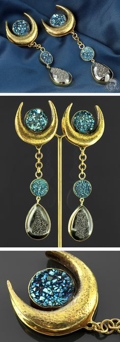 Solid brass saddle weights with electroplated druzy dangles