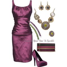 plum dress and heels