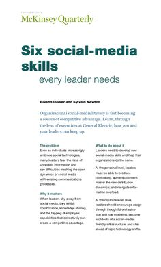 Six social media skills every leader needs - Mc kinsey feb 2013 by Gde Merkl via slideshare