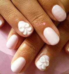 3D bow nail #3Dnail #nailart #gel #nail #pink #white #bow
