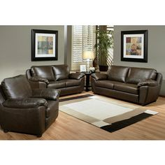 Abbyson Living Sedona 3-piece Premium Top-grain Leather Sofa, Loveseat and Armchair Set $2273, small set.