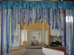 I like this curtain to put up on baptism Sunday(s).