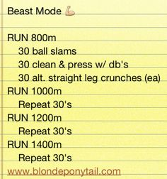 Beast Mode interval workout via @blondeponytail