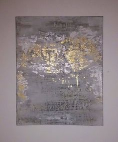 Silver and Gold Leaf Abstract Painting on Canvas - Painting Gold Leaf Art, Gold Art, Silver Leaf Painting, Abstract Canvas, Canvas Art, Painting Abstract, Feuille D'or, Painted Leaves, Diy Painting