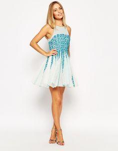 Image 4 ofASOS Beaded Mesh Strip Skater Dress