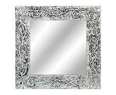 espejo de pared en madera plateado