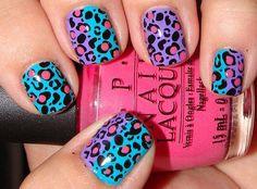 colorful cheetah nails