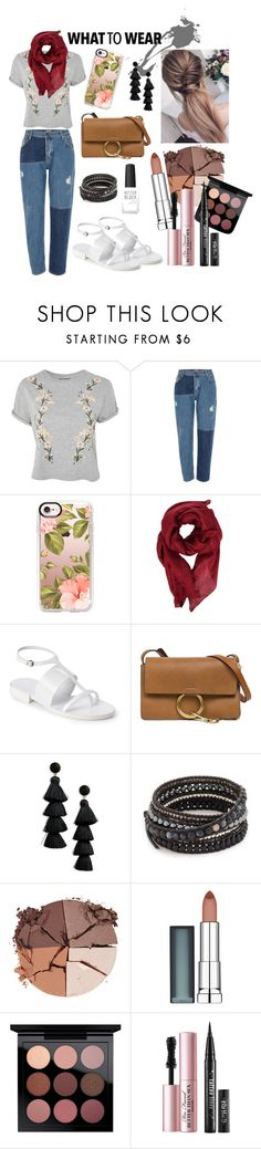 """""""first date"""" by roseeast on Polyvore featuring Topshop, River Island, Casetify, Gucci, Jil Sander, Chloé, BaubleBar, Chan Luu, lilah b. and Maybelline"""