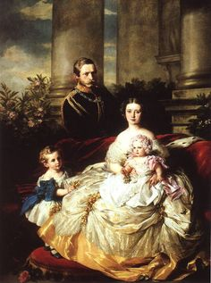 Emperor Frederick III of Germany, King of Prussia with his wife, Empress Victoria, and their children, Prince William and Princess Charlotte. 1862. | In the Swan's Shadow