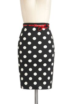 Domino Your Stuff Skirt - Black, White, Polka Dots, Work, Pencil, Mid-length, Belted, Party, Rockabilly, Vintage Inspired