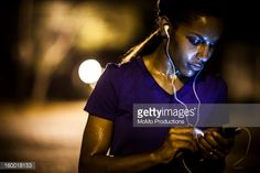 Stock Photo : woman running at nighttime