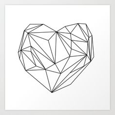 Heart+Graphic+(black+on+white)+Art+Print+by+Mareike+Böhmer+Graphics+-+$20.00