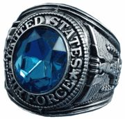This US Air Force Rhodium Ring with Austrian Crystal Stone and Rhodium finish featuring a Austrian Crystal stone.