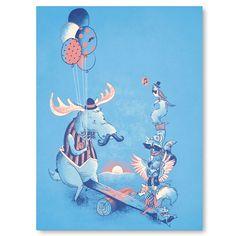 Wall Art, Vintage Moose Print, Cute Mustache Animal Poster, Frog Raccoon Owl Squirrel Print, Moustache, 8 x 10