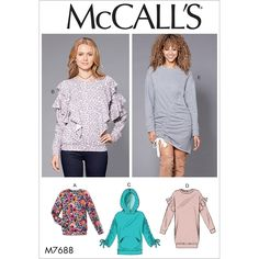 Items similar to Easy Pullover Tunic Dress Pattern, Easy Tunic Top Pattern, Pullover Hoody Top Pattern, Long Sleeve Top Pattern, McCall's Sewing Pattern 7688 on Etsy New Dress Pattern, Top Pattern, Mccalls Sewing Patterns, Loose Fitting Tops, Neue Trends, Designer, Long Sleeve Tops, Tunic Tops, Sewing Projects