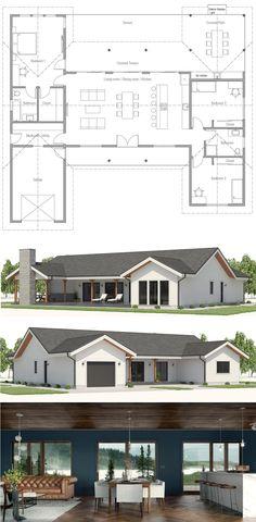 New Exterior House Styles Farmhouse Floor Plans Ideas New House Plans, Dream House Plans, Small House Plans, Farmhouse Floor Plans, Kitchen Floor Plans, Modern Farmhouse Design, Dream House Exterior, Sims House, House Layouts