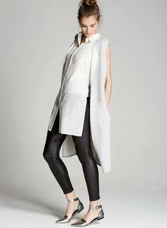 Silver Grey Longline Waistcoat