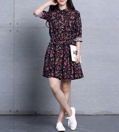 Jahrgang Damen Blumenbaumwollleinen Langarm-A-Linie Kleid Hemdkleid Bluse | eBay