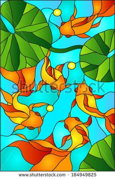 Goldfish, gold fish in fish tank / stained glass